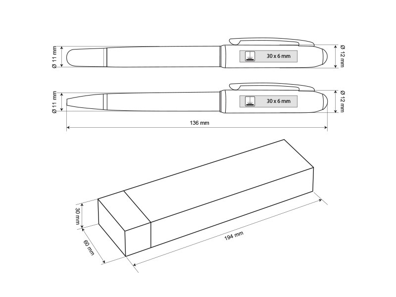 nautilus plus regent metalna hemijska i roler olovka u setu beli makart