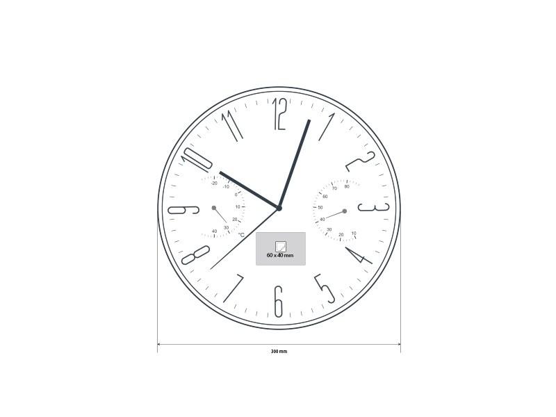 kelvin zidni sat sa meracem temperature i vlaznosti sivi makart