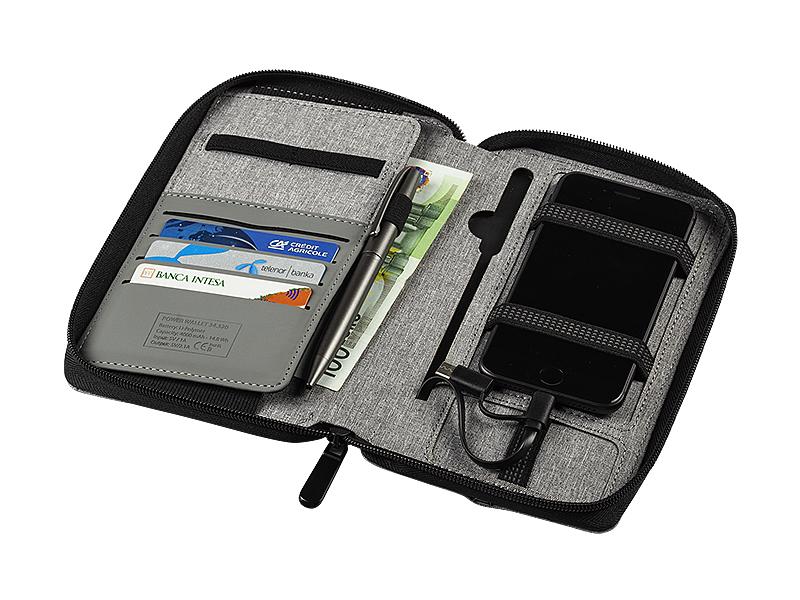 power wallet novcanik sa pomocnom baterijom 4000 mah sivi makart
