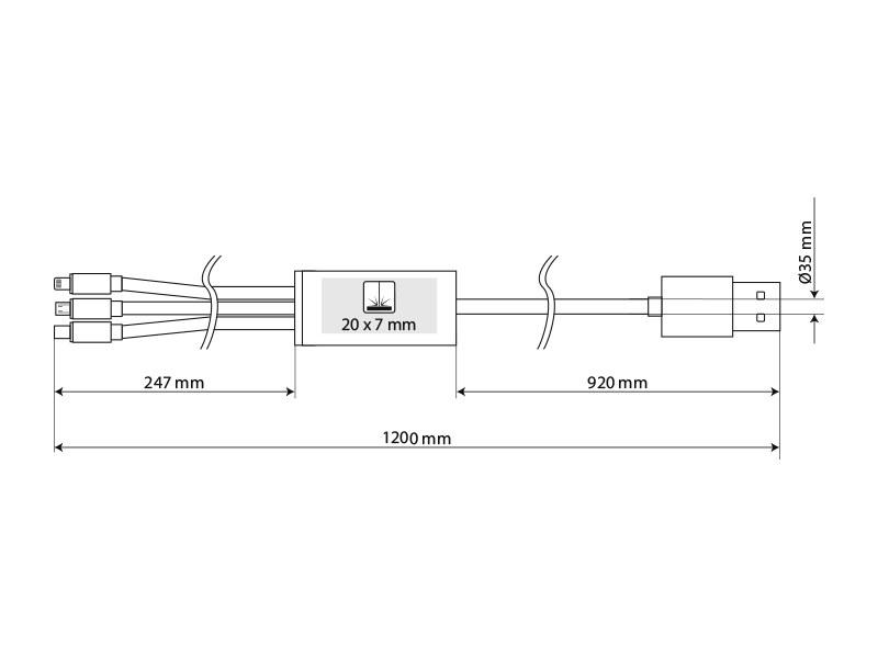 flet usb kabl za punjenje 3 u 1 duzine 12 m crni makart