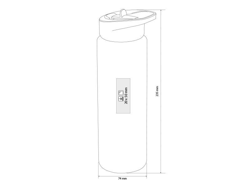 refresh plasticna sportska flasica 700 ml sivi makart
