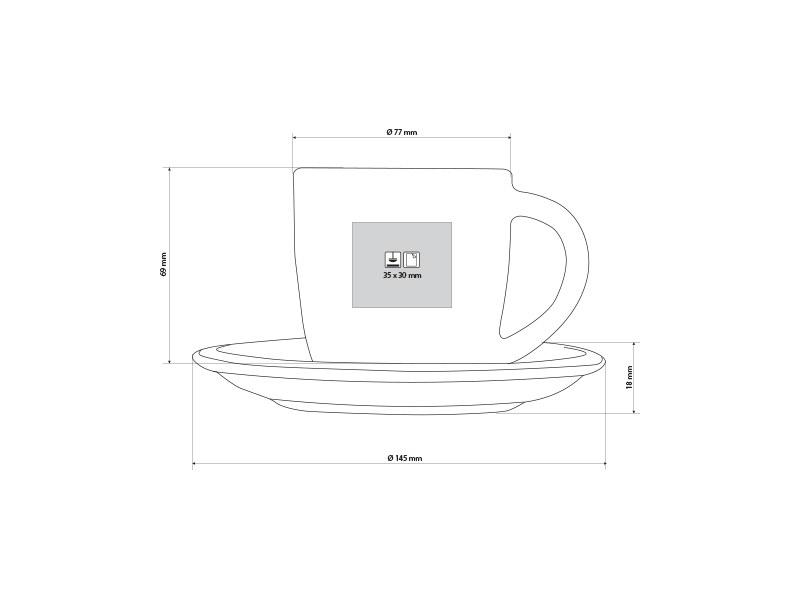 momento porcelanska solja i tacna za cappuccino kafu 150 ml beli makart