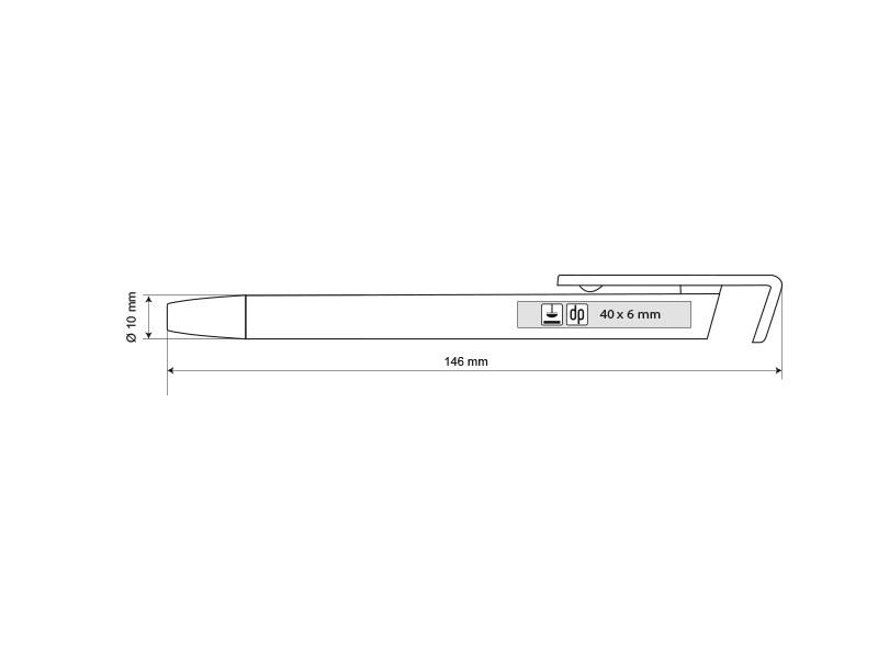 halter metal metalna hemijska olovka sa drzacem za mobilni telefon srebrna makart