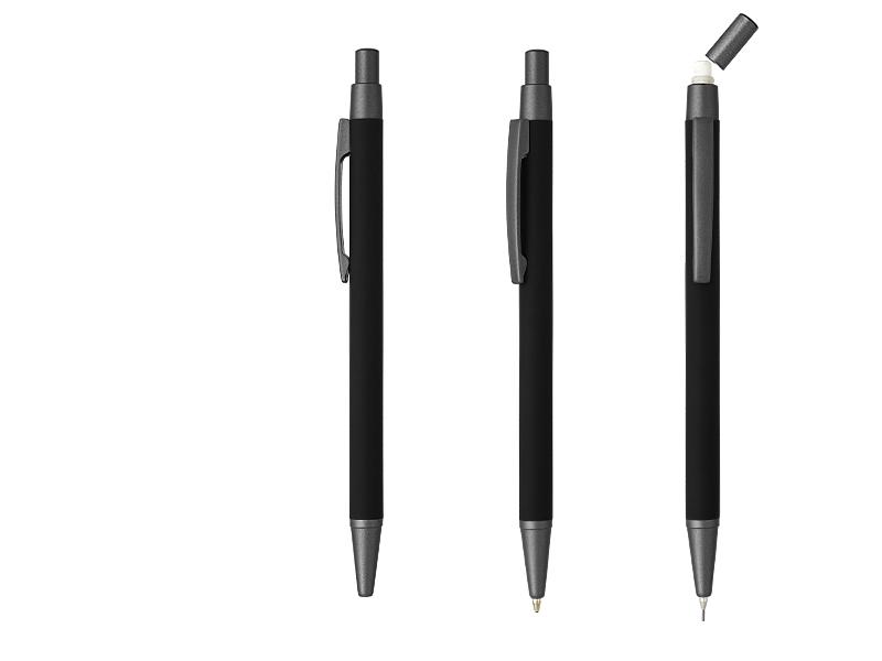 sansa metalna tehnicka i hemijska olovka u poklon setu crni makart