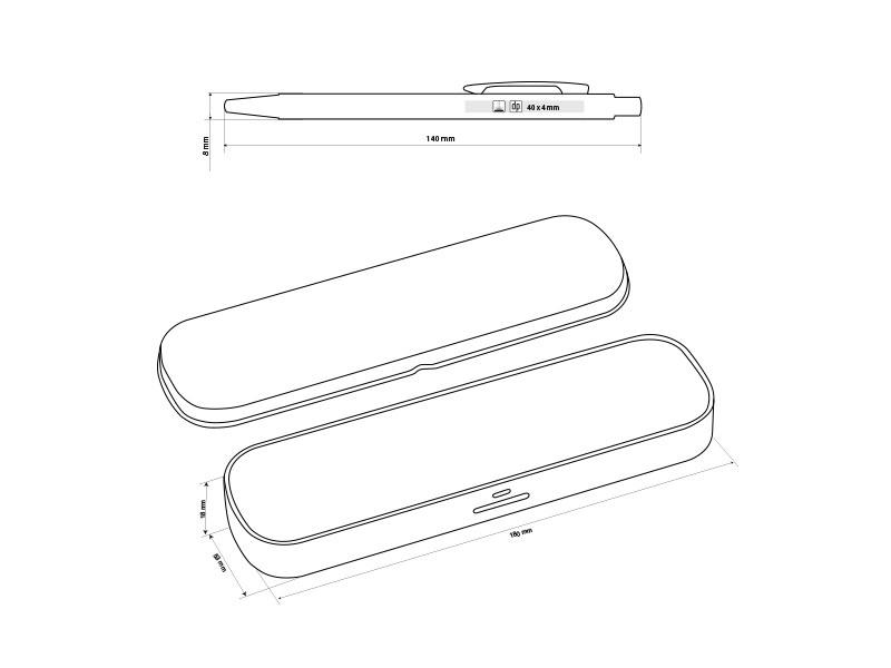 sansa metalna tehnicka i hemijska olovka u poklon setu beli makart
