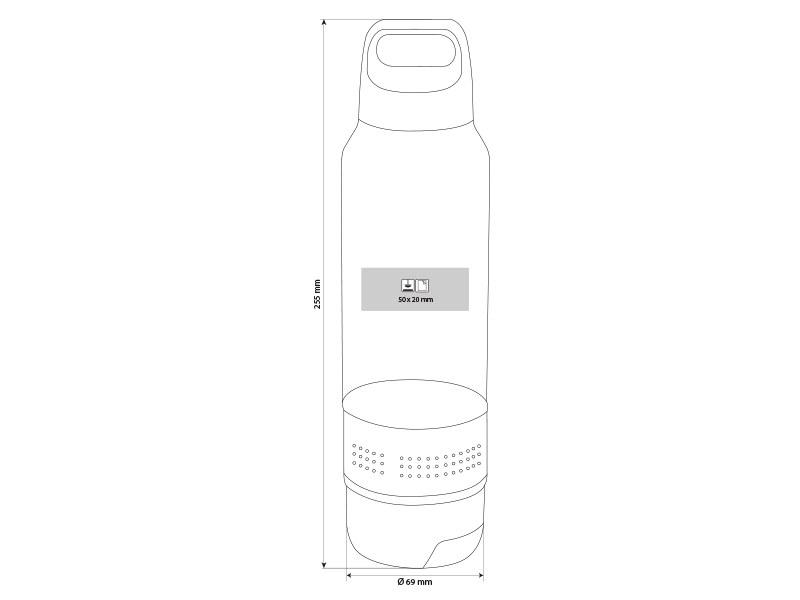 fitness plasticna sportska flasica sa peskirom 600ml sivi makart