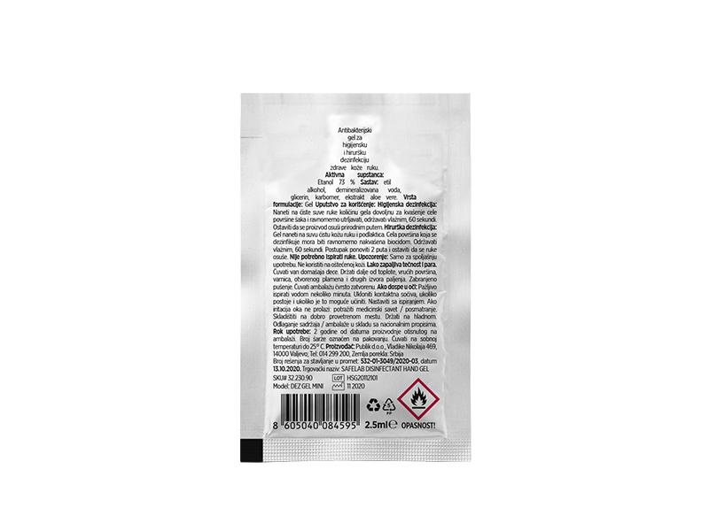 DEZ GEL MINI, antibakterijski gel za dezinfekciju ruku, 2.5 ml, beli