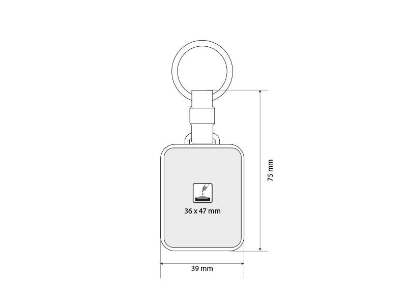 domingo plasticni privezak za kljuceve beli makart