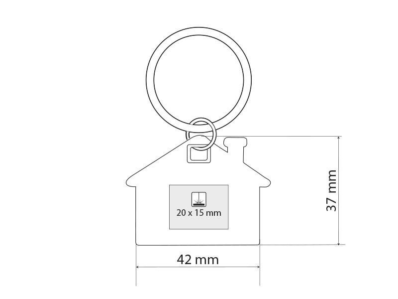 hus metalni privezak za kljuceve beli makart