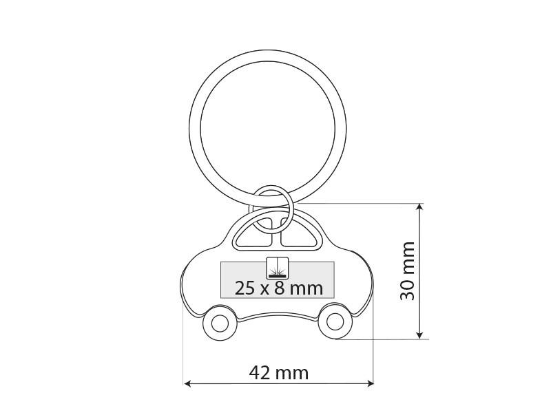 topolino metalni privezak za kljuceve crveni makart