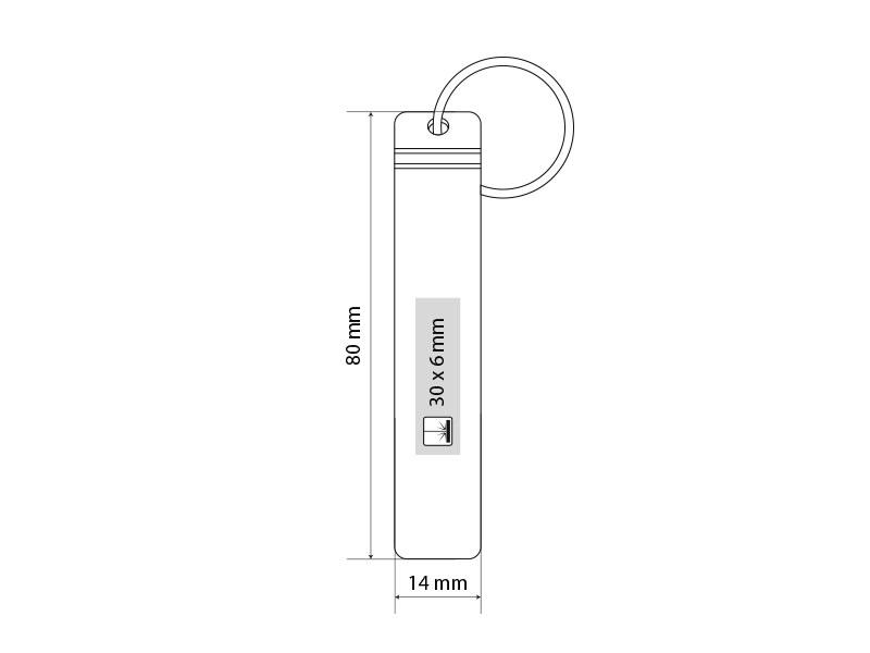 BARMEN, aluminijumski privezak za ključeve, crni