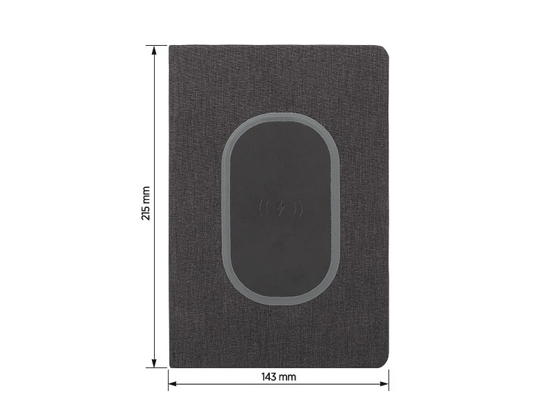 COLOMBO, notes a5 formata sa bežičnim punjačem, crni