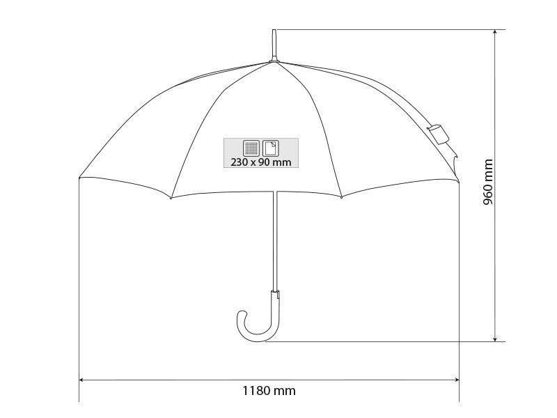 CARERA, kišobran sa automatskim otvaranjem, crni