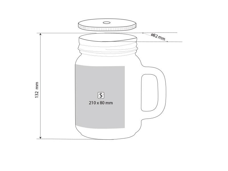 JAR SUBLI, staklena teglica za sublimaciju, 450 ml, transparentna