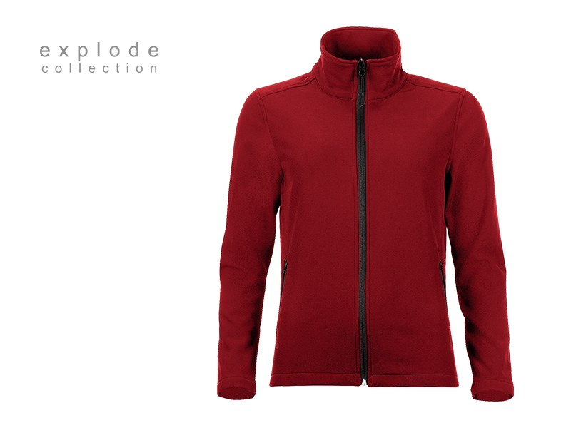 nera zenska softshell jakna crvena makart