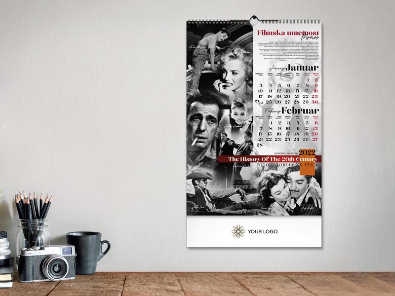 XX VEK, zidni kalendar: 7 listova, dvomesečni